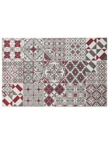 Pianta tappeto rosso con decori moderni