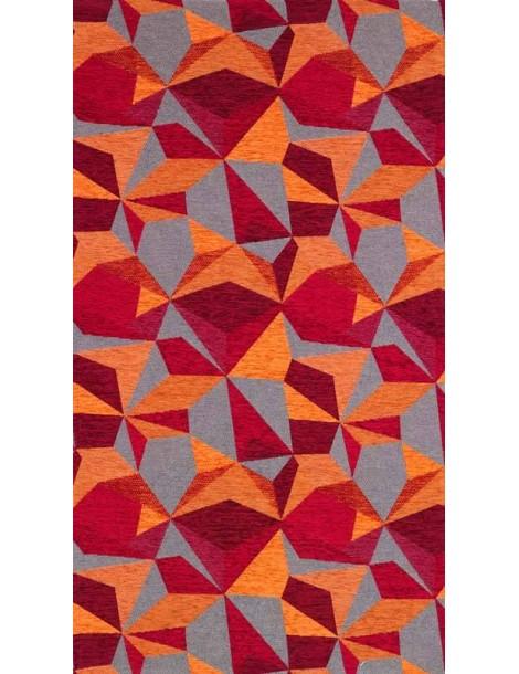 Veduta dall'alto del tappeto geometrico tonalità rosso
