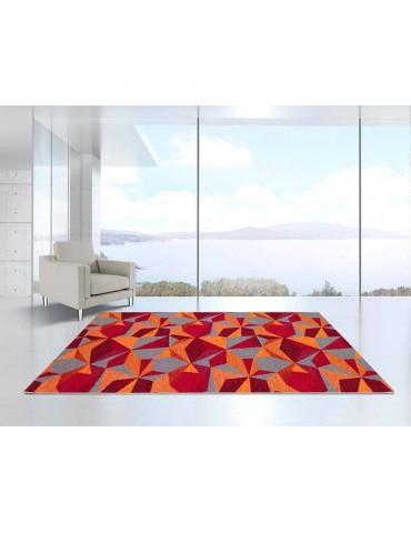 Ambientazione tappeto geometrico tonalità rosso