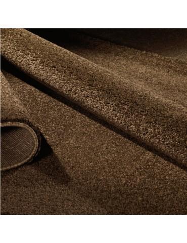 Dettaglio del tappeto marrone a tinta piatta