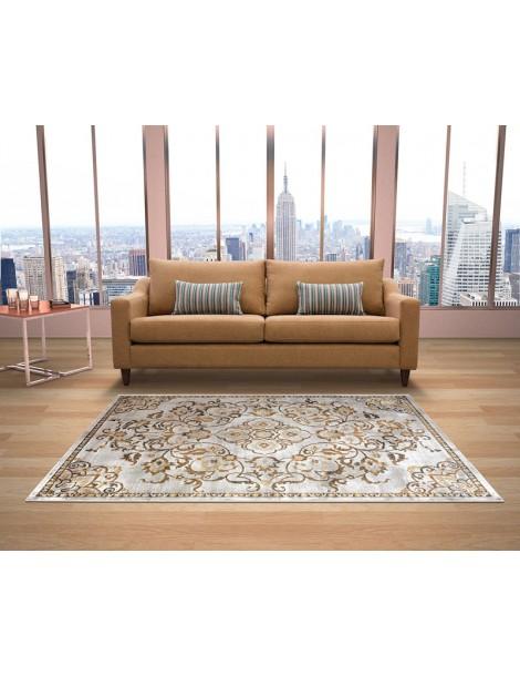 Ambientazione del tappeto in stile moderno vintage di colore giallo