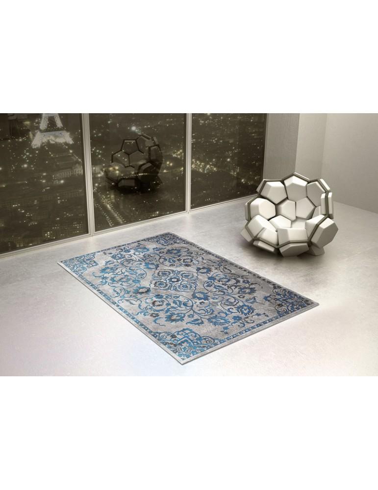 ambientazione del tappeto in stile vintage colore blu