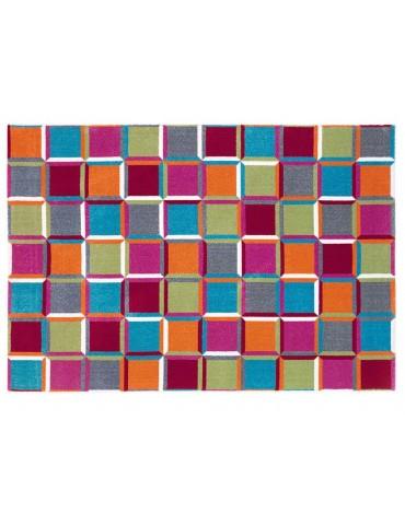Piante dal tappeto vista dall'alto con design geometrico multicolor