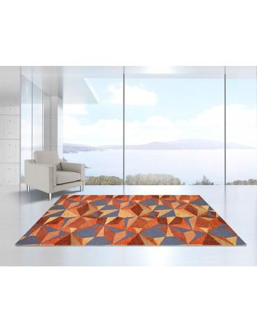 Ambientazione tappeto geometrico tonalità arancio